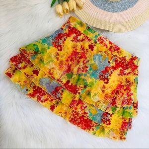 Thalia Sodi yellow floral mini skirt